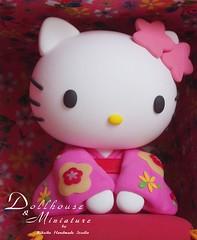 Hello Kitty { kimono } (charles fukuyama) Tags: art miniature handmade hellokitty decoration kimono custom dollhouse sculpted claydoll