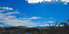 A Panoramic View of Lake Jindabyne Looking Towards the Snowy Mountains (antonychammond) Tags: blue sky panorama landscape australia victoria newsouthwales snowymountains lakejindabyne firsttheearth scenicsnotjustlandscapes panoramafotográfico virgiliocompany mygearandme