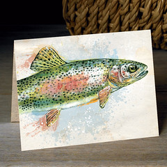 Rainbow Trout (snailspacepaper) Tags: environment wildlifecards naturecards recycledcards fishingcard