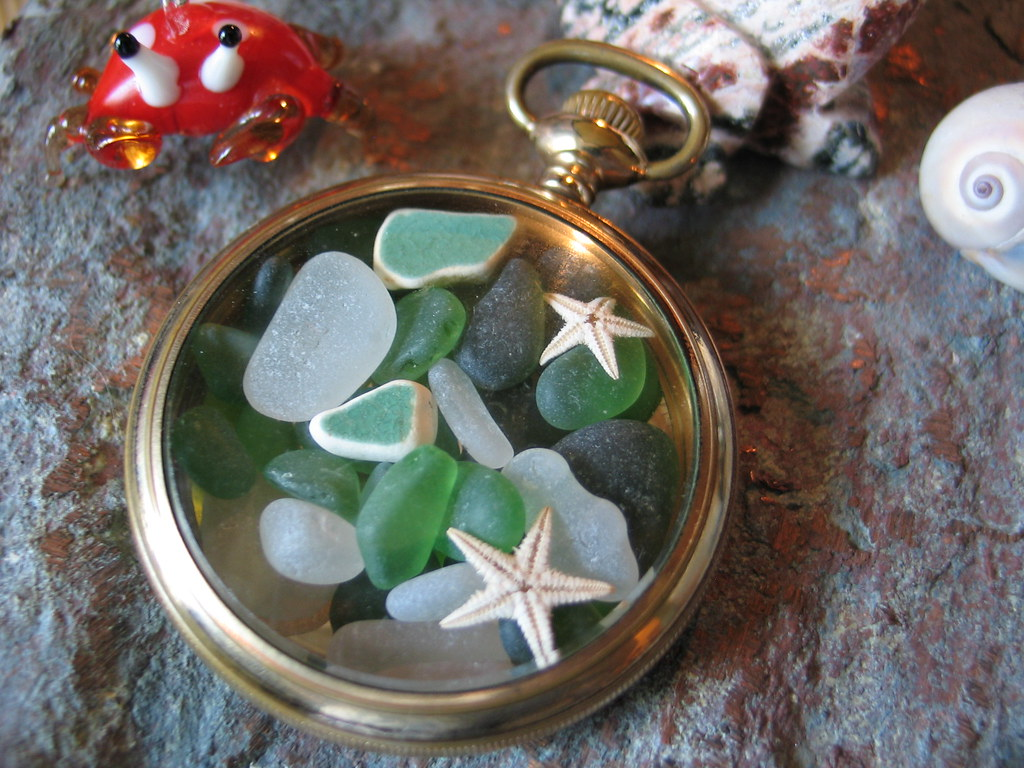 Pocket Watch filled with Sea Glass green