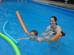 ajax with mama and pool noodles (loxosceles) Tags: summer vacation water pool fun toddler ajax splashing