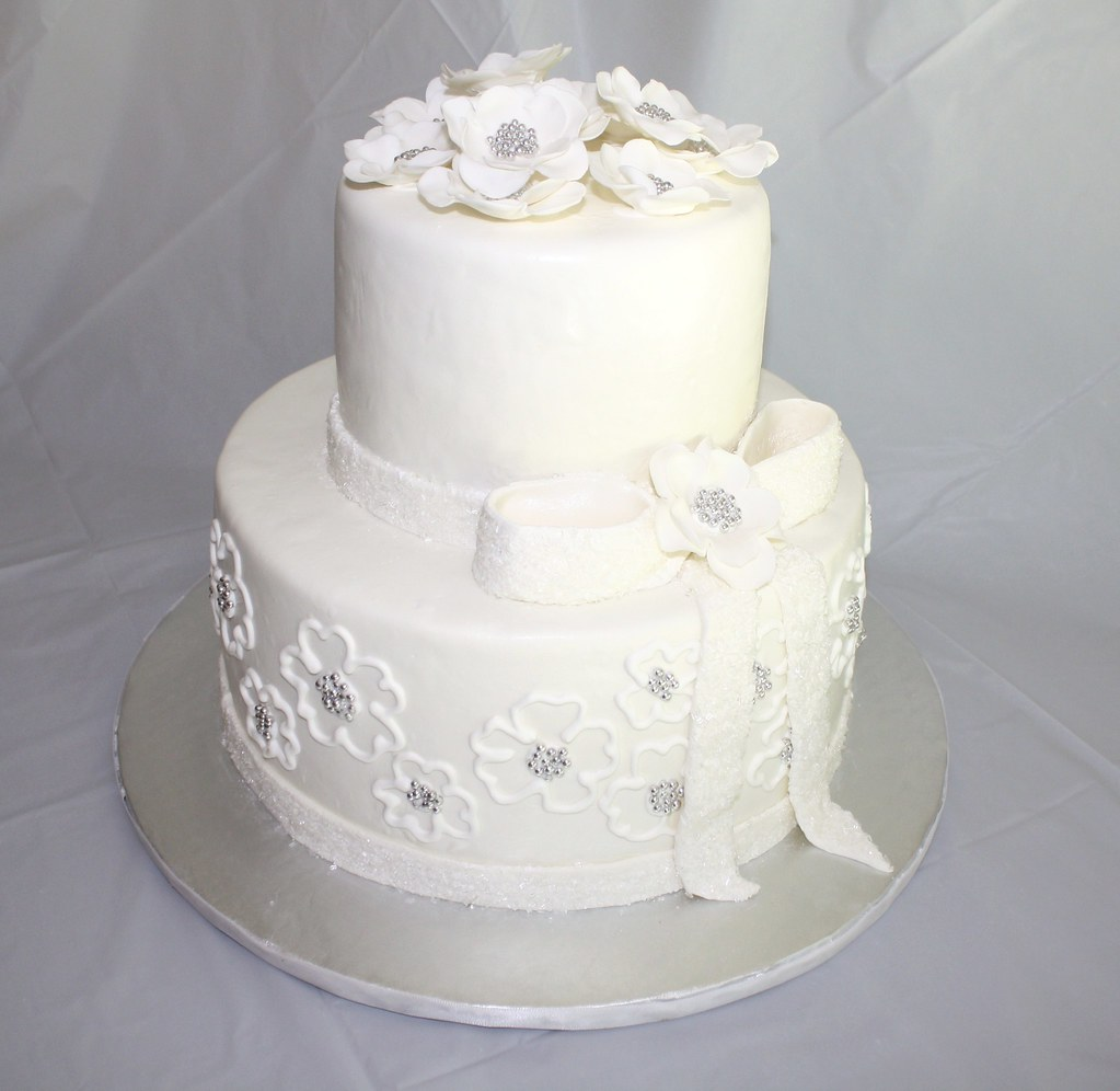 Silver and White 25th Anniversary cake
