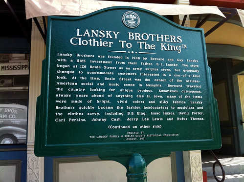 Lansky Bros. Clothier to the King marker, Memphis, Tenn.