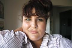 terintalarico.tumblr.com (Terin Talarico) Tags: selfportrait me self hipster greeneyes nosering bangs bun pinstripes terin updo buttonupshirt mensshirt