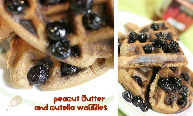 Peanut Butter and Nutella Waffles