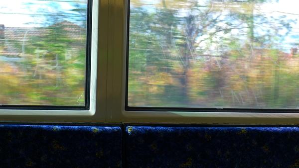 window graffiti on train