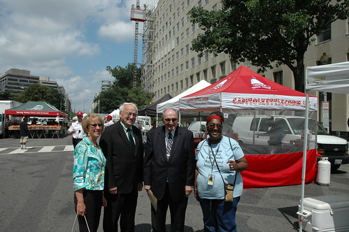 (from left to right) FNS Mid-Atlantic Regional Director Pat Dombroski, FNCS Under Secretary Kevin Concannon, Interim Deputy Director of the District of Columbia Health Department (DOH), and Michele Tingling-Clemmons, Bureau Chief for Nutrition and Physical Fitness Programs in DOH, took a moment to pose for the camera before the festival began.