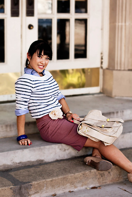 macy's striped button down, loft breton striped shirt, j. crew super 120s mauve pencil skirt, target mossimo pearce camel patent pumps, loft cream flower pin, mk5430, handbag heaven vieta veronique cream satchel