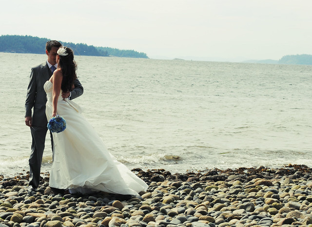 Birde + Groom Kiss on the Beach