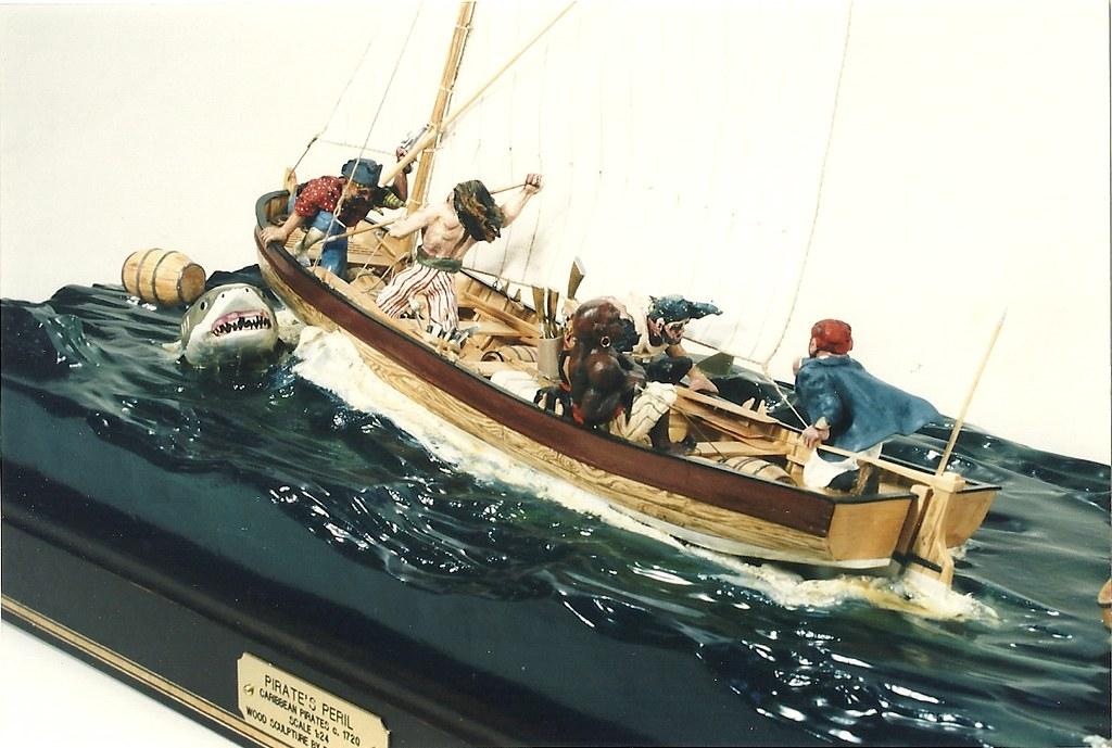 Pirate's Peril, Caribbean Pirates c.1720 -Wood Sculpture