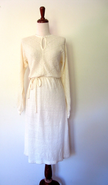 Pointelle Knit Keyhole Sweater Dress, vintage 70s