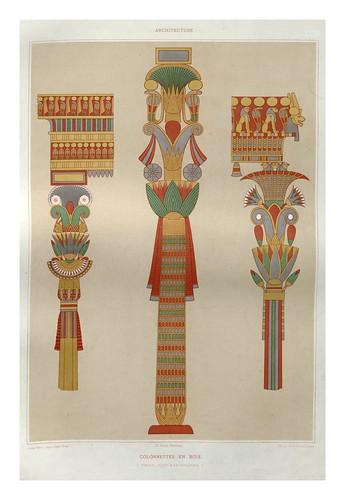 014-Columnatas en madera- Tebas dinastias XVIII y XIX-Histoire de l'art égyptien 1878- Achille Constant Théodore Émile