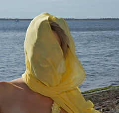 Veiled laughter (Eyesplash - There is a change in the air.) Tags: wedding sea water yellow scarf friend veil pacific bridesmaid worldphotographyday tswassen laughterocean
