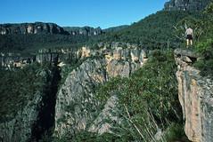 Crooked Falls, Budawangs, 1986 (NettyA) Tags: park trees film angel creek 35mm waterfall sandstone australia s