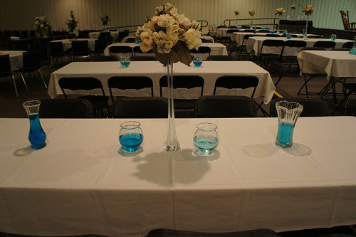 blue water centerpieces