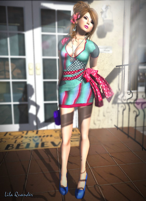 >TRUTH< Ricci - fudge & The Secret Store - Patchwork  Dress - Mint-Cherry