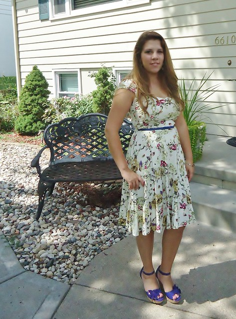 Floral dress and new shoes