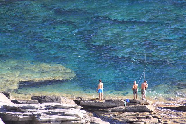"""Local """"leisure fishermen"""" near Capo del Falcone"""