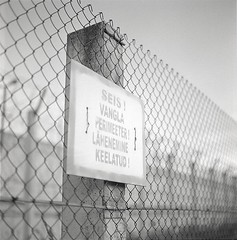 . (_Alexei) Tags: street bw white black 120 6x6 film analog fence square iso100 tallinn estonia dof kodak bokeh no c stock d76 hasselblad prison negative stop jail scanned medium format mf seis manual f28 shangai yf trespassing eesti planar perimeter 80mm 500cm gp3  vangla murru   rummu keelatud perimeeter