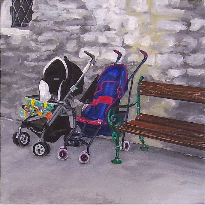 Pushchairs,  Acrylic on Canvas, 31cm x 31cm by Robin Clare
