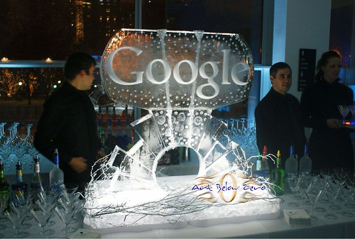 Google Double Luge 1 ice sculpture
