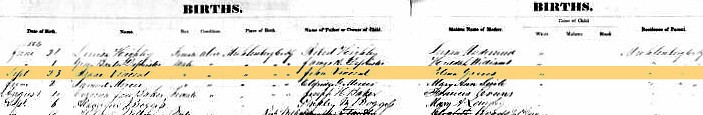 Isaac T Vincent Birth Record