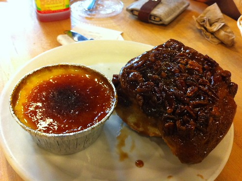Crème brûlée and sticky bun at Flour