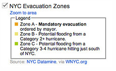 NYC evacuation zones map legend