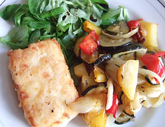 Gegrilde groenten met gebakken feta