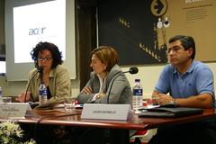 Inmaculada Mata de CCOO y Javier Bermejo de UGT en la última jornada