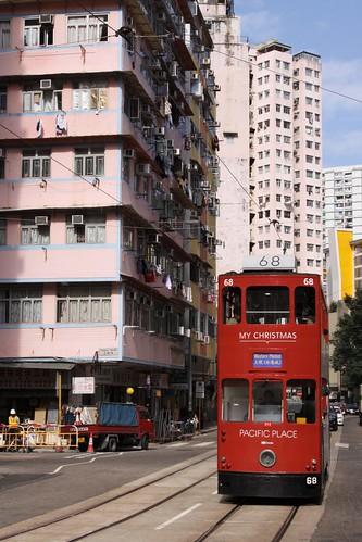 Hong Kong tram #68 trundles down the main street of Shau Kei Wan