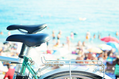 Details on the Promenade, Nice (dhmig) Tags: travel summer vacation people france beach bicycle 50mm nice nikon dof bokeh outdoor promenade highkey saddle saddles frenchriviera promenadedesanglais summermood softcolours nikond7000 dhmig dhmigphotography