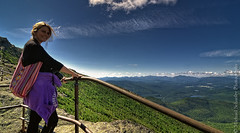 View from Stairway Ridge Trail at Whiteface Mountain (Micha67) Tags: woman newyork mountains nature girl clouds fence landscape michael nikon rocks micha newyorkstate wilmington adirondack schaefer d300 highpeaks whitefacemountain ptf stairwayridgetrailatwhitefacemountain