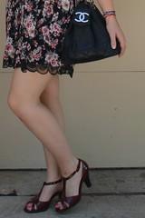 Outfit - floral and black lace dress, t-strap shoes, vintage Chanel bag