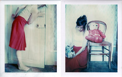 Behind memory door (emilie79*) Tags: door red selfportrait girl diptych polaroid180 iduvfilm