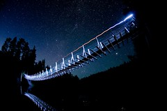 Across the Milky Way (Antti-Jussi Liikala) Tags: bridge light sky lake reflection night trekking finland dark way stars nationalpark fishing nikon long exposure suspension hiking space lappland north august fisheye galaxy planet kuusamo headlight nikkor milky lanscape meteor lappi kansallispuisto 105mm starscape kierros vaellus oulanka harrisuvanto oulangan karhun d7000