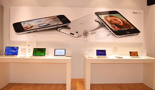 Apple Macbooks and other products are displayed for you to test in Beyond the Box store in Resorts World in Manila