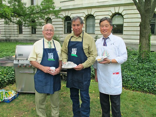 Grill Masters FNCS Under Secretary Kevin Concannon, MRP Under Secretary Edward Avalos, and FSIS Deputy Under Secretary Brian Ronholm grill hot dogs for the event.)Grill Masters FNCS Under Secretary Kevin Concannon, MRP Under Secretary Edward Avalos, and FSIS Deputy Under Secretary Brian Ronholm grill hot dogs for the event.)