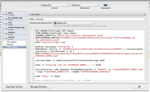 Adding an Xcode 4 scheme Archive Post-script