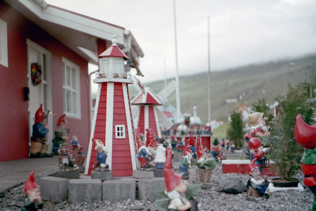 A very decorated front yard in Eskifjörður