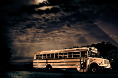(noah lovay) Tags: longexposure trip school light moon bus night clouds canon photography photo exposure shadows darkness nightime mysterious moonlight magical