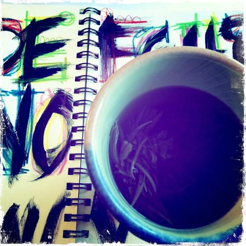 morning blossoming tea & lettering