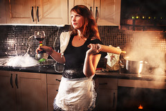 Halv tta hos mig (PierrePocs) Tags: red woman cooking kitchen hair fire baking chaos wine smoke whatever splash mig hos kaos halv speedlights tt fotosondag fs110904
