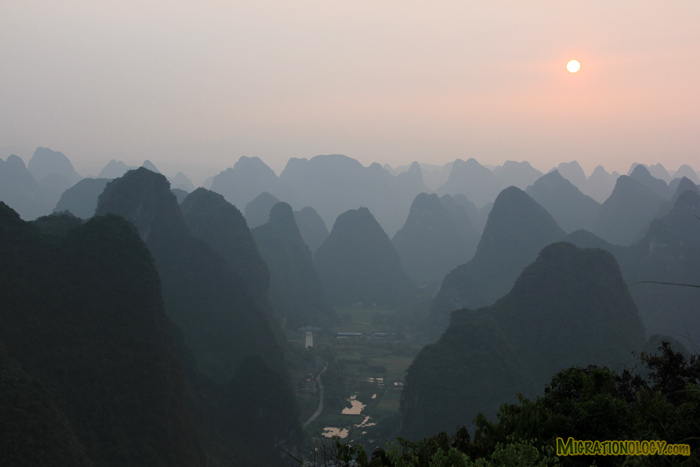 I Took This Photo at Sunset on the Top of TV Tower, Yangshuo, China