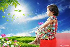 (Alawiyah Alshamimi) Tags: light sun green love girl look garden child future  tomorrow optimism