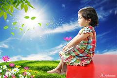تأملات طفولية (Alawiyah Alshamimi) Tags: light sun green love girl look garden child future شمس tomorrow optimism أخضر حديقة تأملات تأمل مستقبل خضراء تفاؤل مشرق واعد طفولية