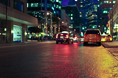 Night Lights (Standard Deluxe) Tags: road street city light canada wet car rain night vancouver reflections 50mm downtown bc traffic britishcolumbia 50l canonef50mmf12lusm
