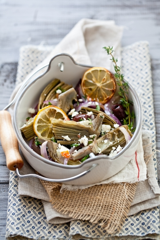 Baked Artichoke Hearts With Olives & Feta