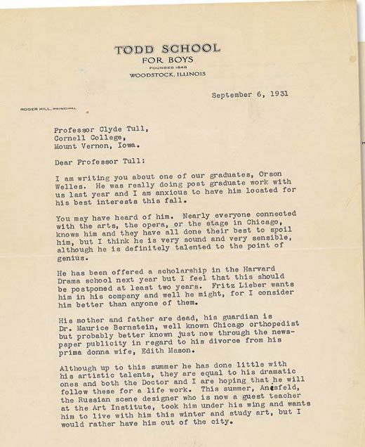 Roger Hill's letter to Cornell College online   WELLESMESSAGE