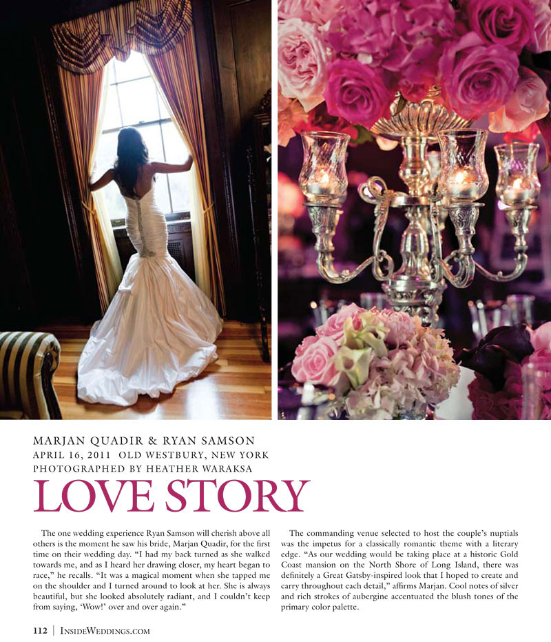 Bridal Styles Boutique Bride Marjan featured in Inside Weddings